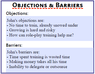 Objections and barriers section of the client avatar worksheet.