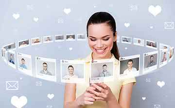 Young woman surrounded by Client Avatar images, trying to choose the right one.
