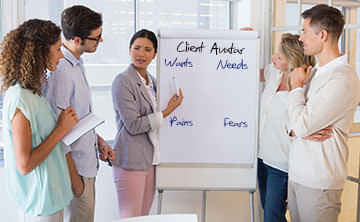 Team creating a Client Avatar at the flipchart.