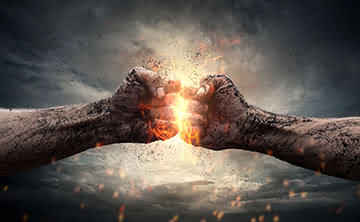 Two strong fists clashing, understanding your clients pain.
