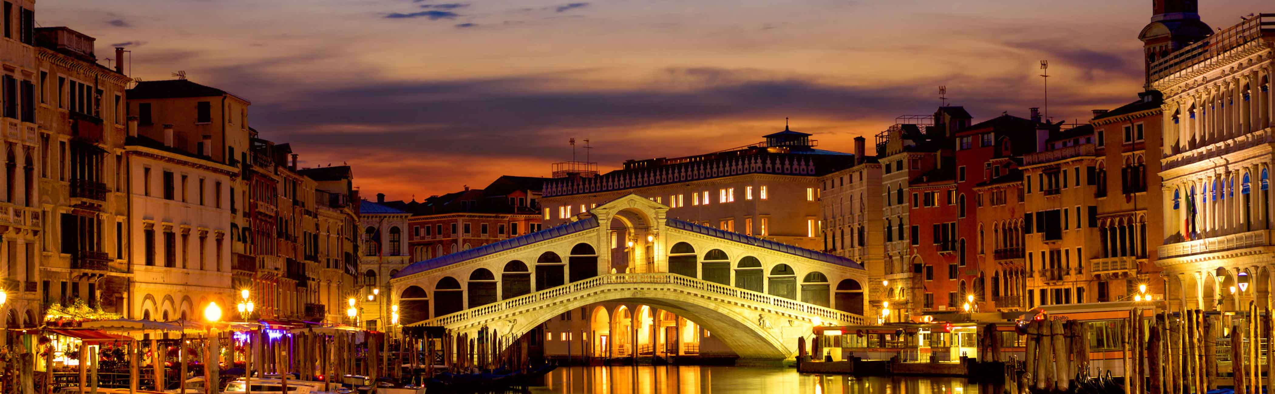 View of the bridge over the grand cannal in Venice.