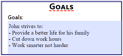 Goals section of the worksheet.