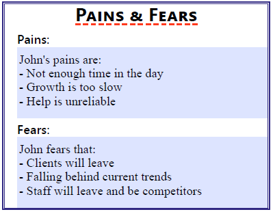 Pains and fears section of the worksheet.