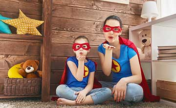 Mother and daughter superheros showing you the way.